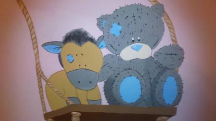 Wall drawing teddy