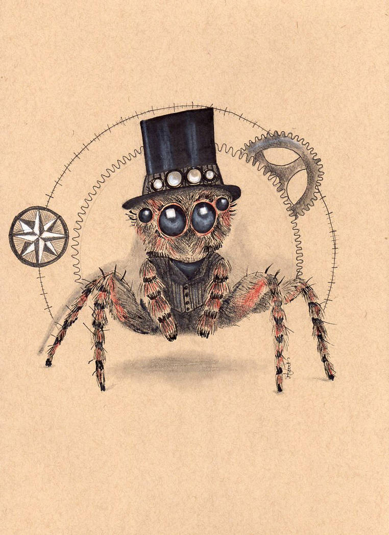 Steampunk Jumping Spider by Le-Chameau-En-Sable