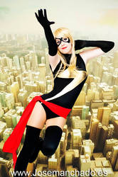 Ms Marvel flying happily by Motoko87
