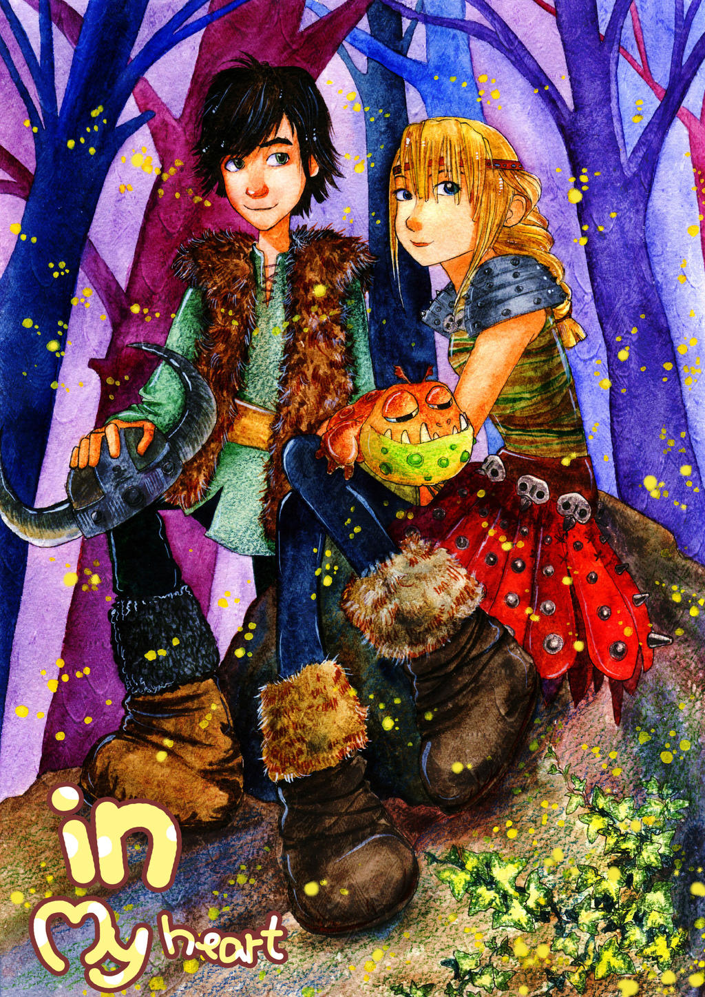 Hiccup And Astrid On The Fireflies Glade By Mizuho Sensei