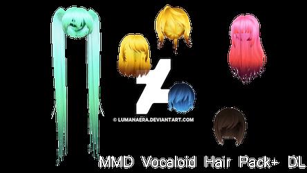 MMD Vocaloid Hair Pack + DL