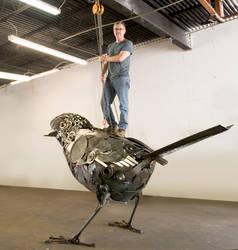 Artist atop Dream Sparrow
