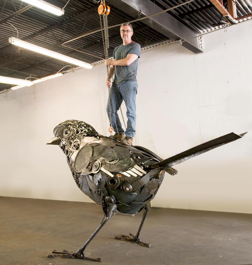 Artist atop Dream Sparrow by livesteel