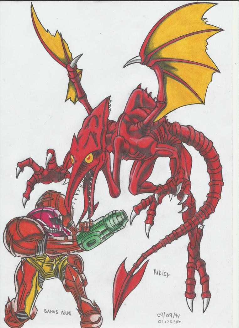 Ridley Rojo vs Samus Aran!!! by stefano-roca