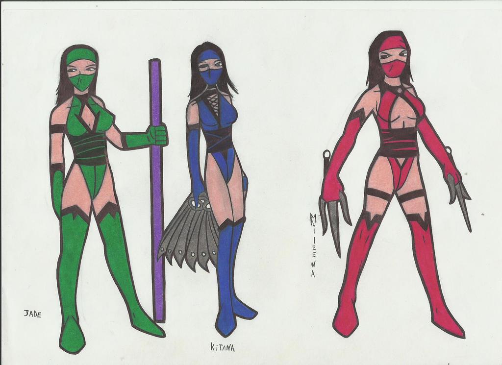 Jade, mileena y kitana!!!! by stefano-roca
