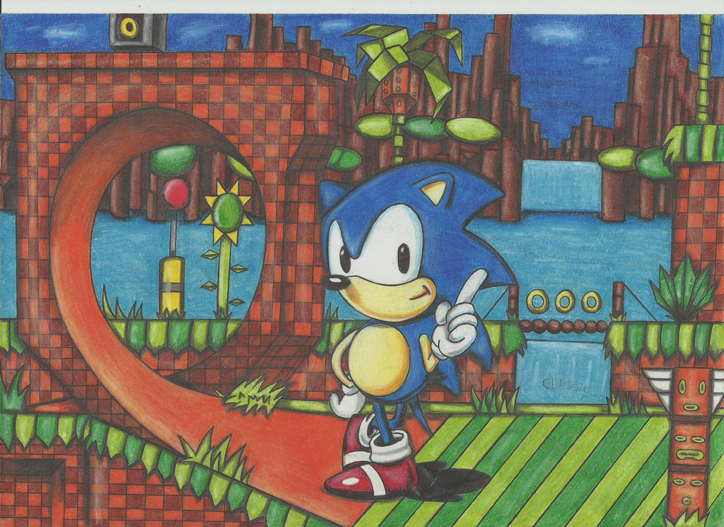 Green Hill Zone and Classic sonic by stefano-roca
