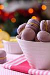 Bokeh lavender macarons
