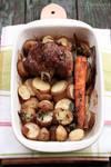 Roasted lamb with veggies