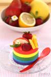 Rainbow lemon cheesecakes