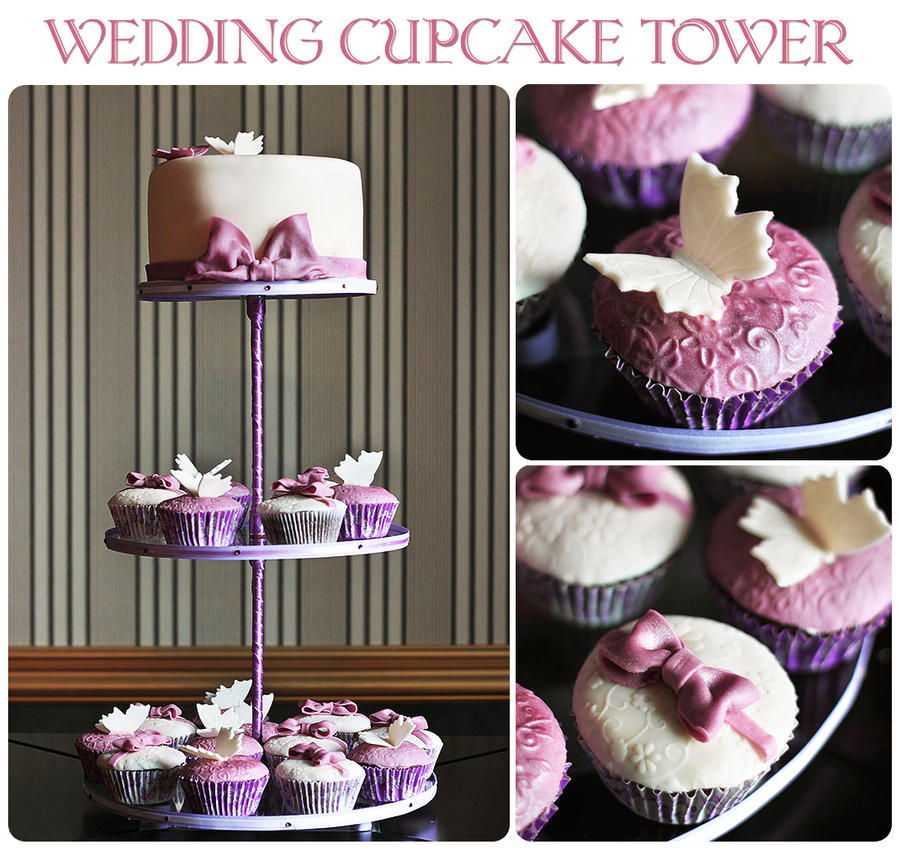 Wedding cupcake tower by kupenska
