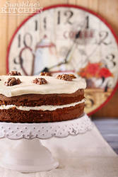 Carrot cake on a plate by kupenska