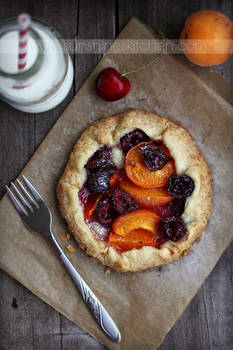 Apricot and cherry galette