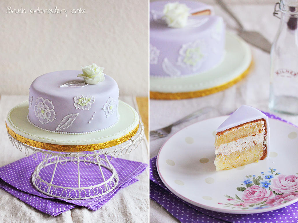 Brush embroidery cake by kupenska