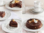 Chocolate and caramel pears entremet