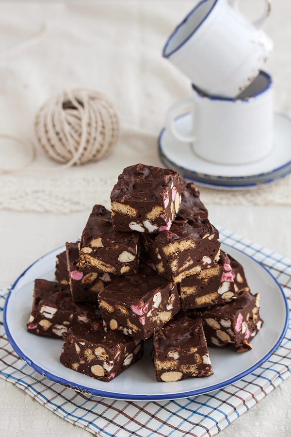 Chocolate fudge with marshmallows and almonds by kupenska
