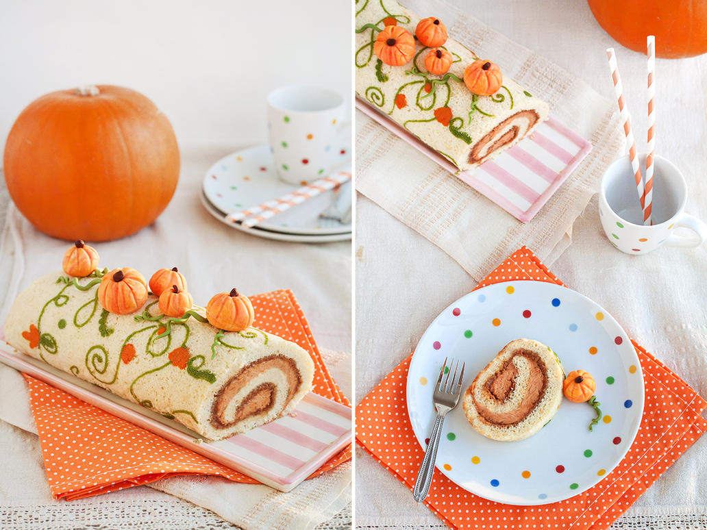 Pumpkin roll with walnut praline paste by kupenska