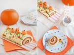 Pumpkin roll with walnut praline paste