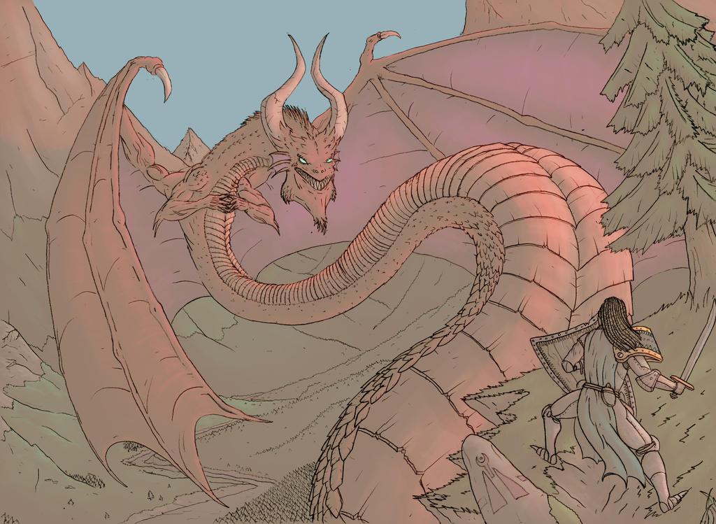 Dragon-chevalier pastel by Binrod