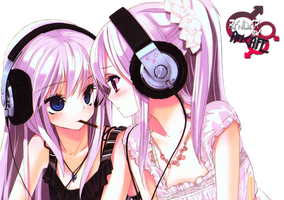 2 anime girls with headset png by xxArtCAFExx