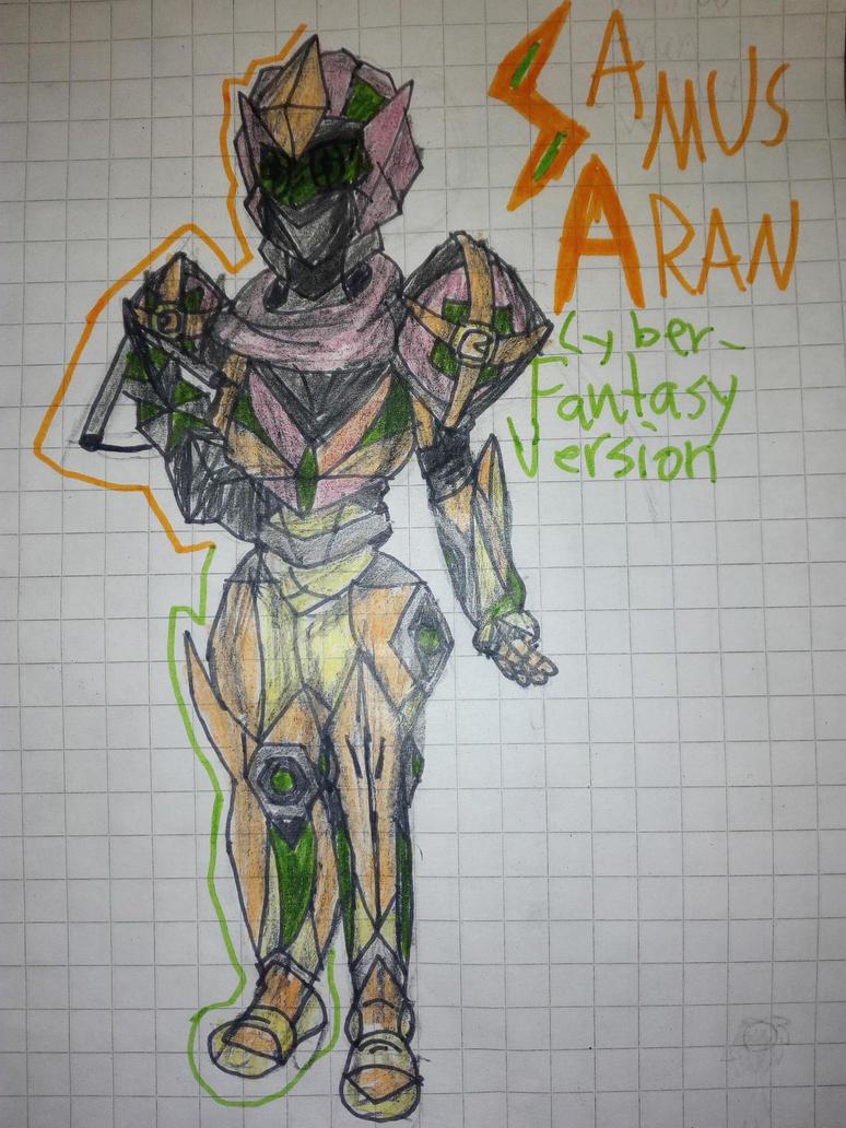 [Fan Art] Samus Aran CyberFantasy Power Suit by ChibiCantDraw