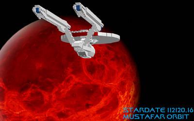 Abrams Enterprise over Mustafar by DalekOfBorg