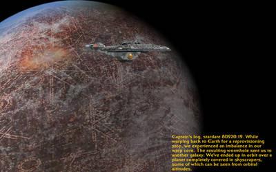 Enterprise-E over Coruscant