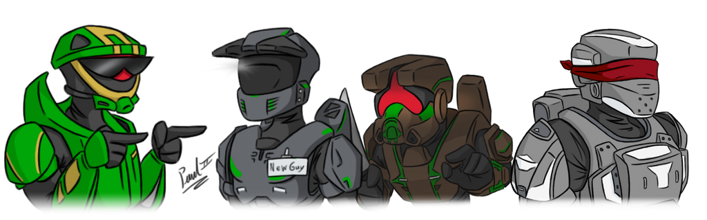 Green Team member line up (Halo gameplay series) by fakefrogs