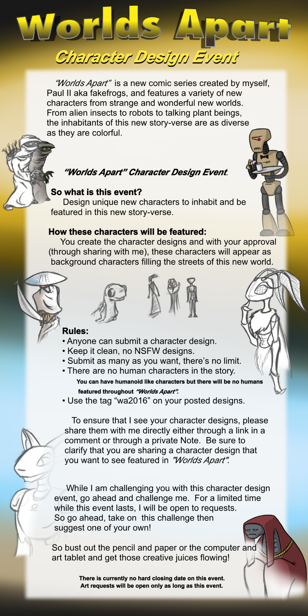 Worlds Apart:  Character Design Event by fakefrogs