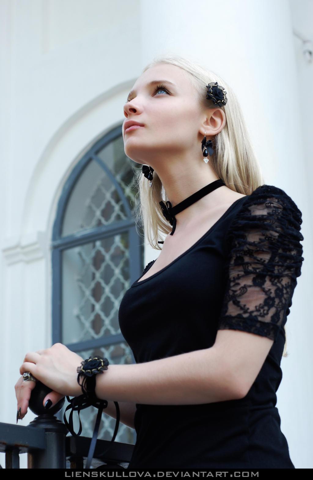 STOCK - Blonde in Black 06 by LienSkullova