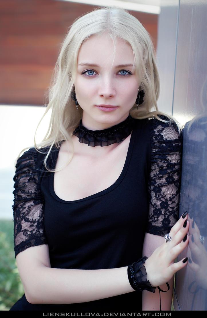 STOCK - Blonde in Black 08 by LienSkullova