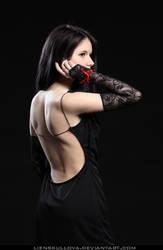 STOCK - Girl in Black (Back) by LienSkullova