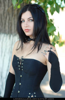 STOCK - Girl in Black Corset (Portrait) 1