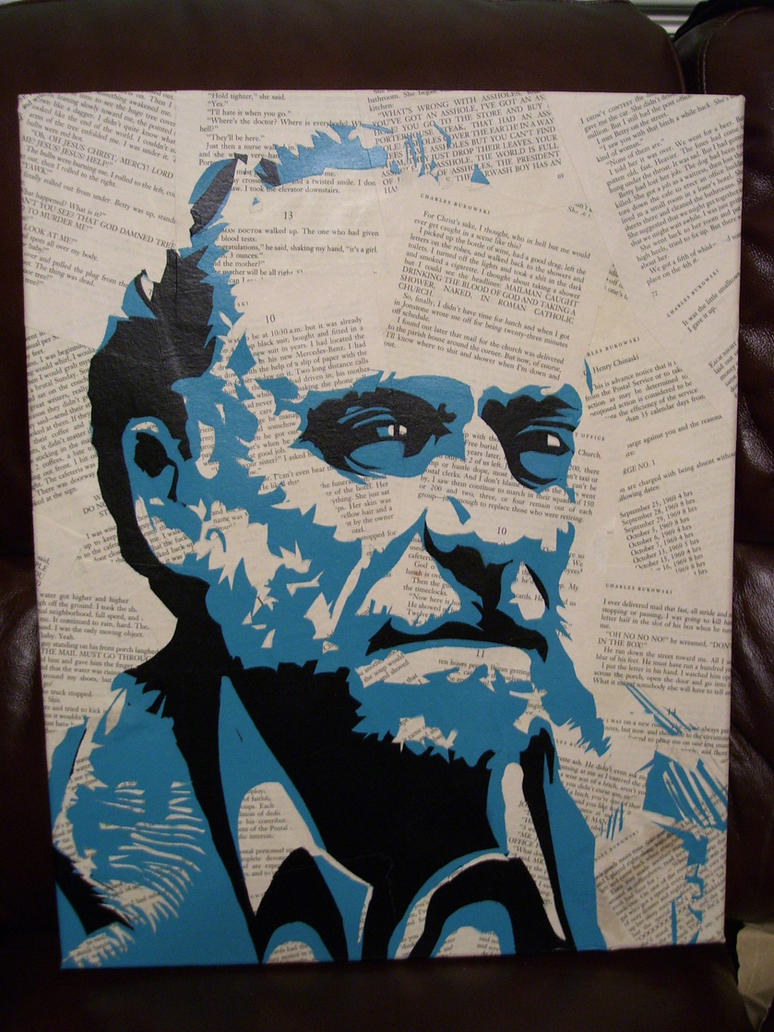 Charles Bukowski Stencil by Zombie-Pacman