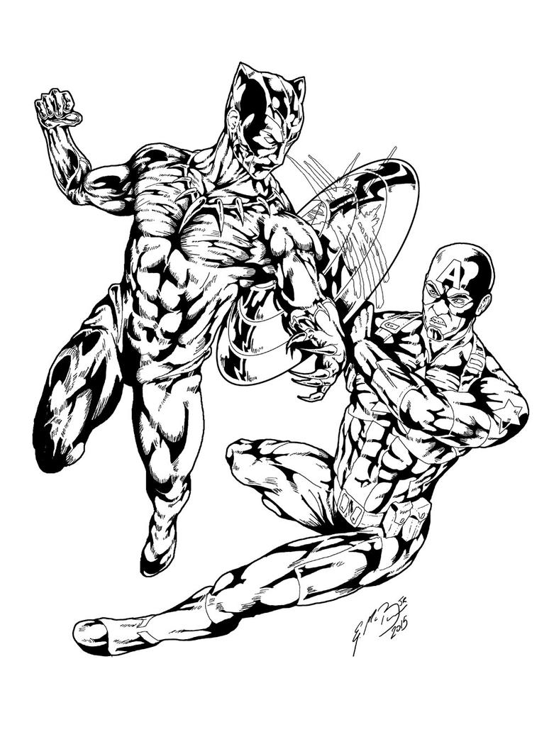 Black Panther vs Captain America Inks by gemgfx on DeviantArt