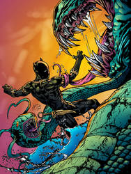 Black Panther vs Swamp Monsters Commission Final by gemgfx