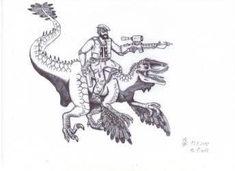 Red Beret - Superhero, Dino-Rider by Isla-Nublar-Crew