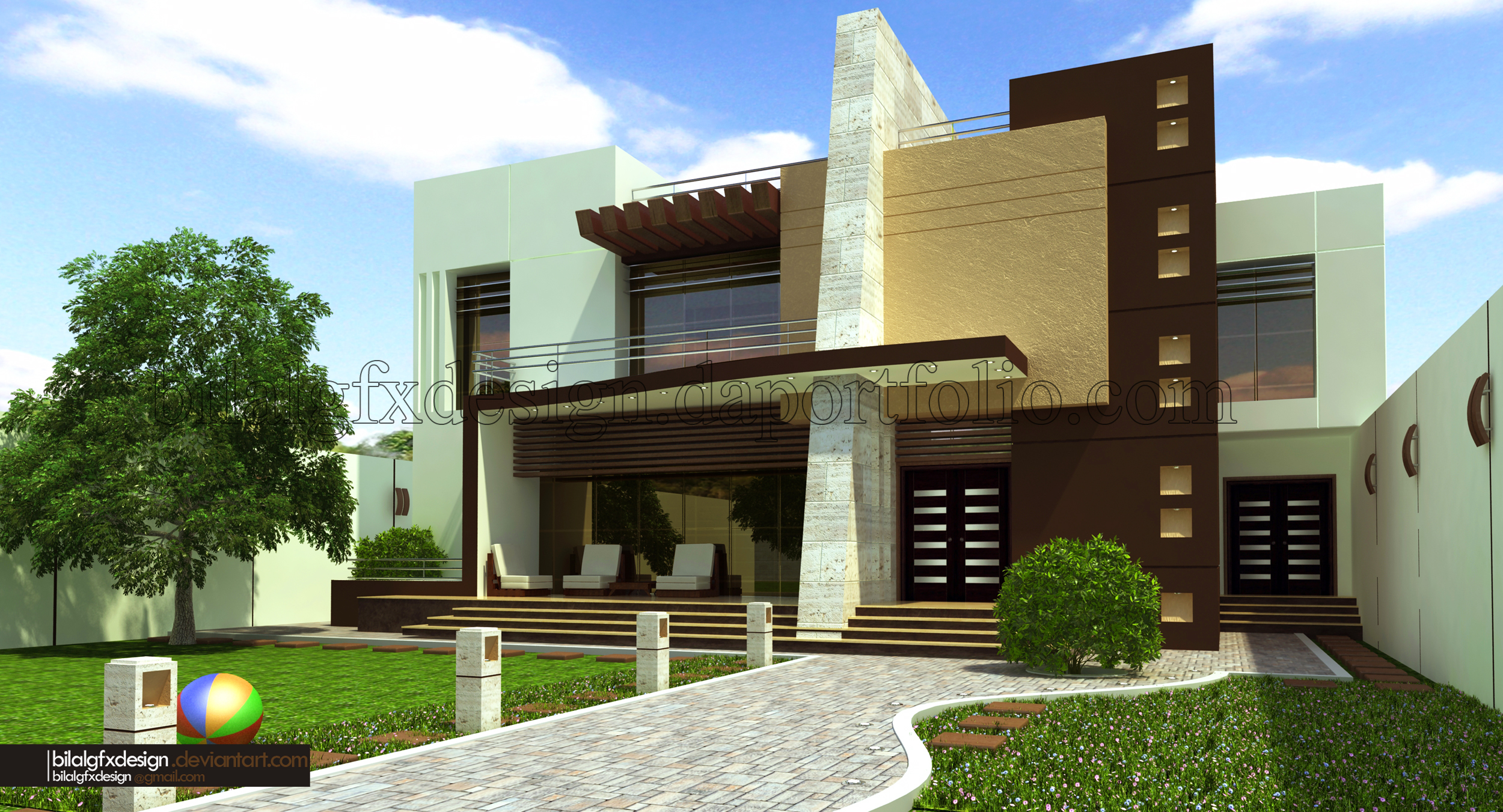 Modern villa 1 by bilalgfxdesign on deviantart Modern villa architecture design