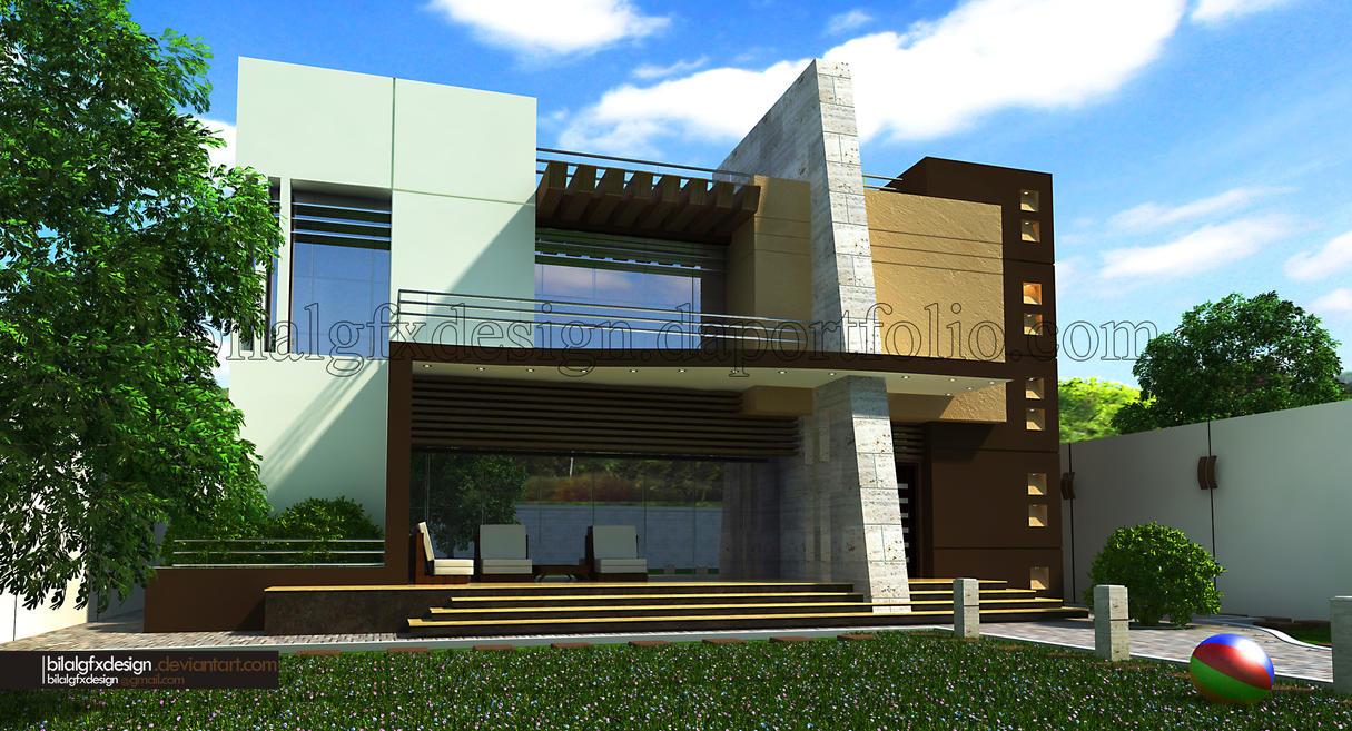 Modern villa 2 by bilalgfxdesign on deviantart for Villas 3d view