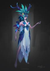 Deer elf priestess concept design practice by YanmoZhang