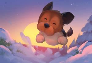 Puppy in Snow World