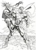 Green Lantern Helps Green Arrow by Lun-K