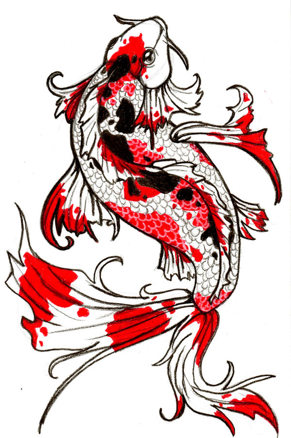 Koi fish by raowenblackbird on deviantart for Koi fish drawings