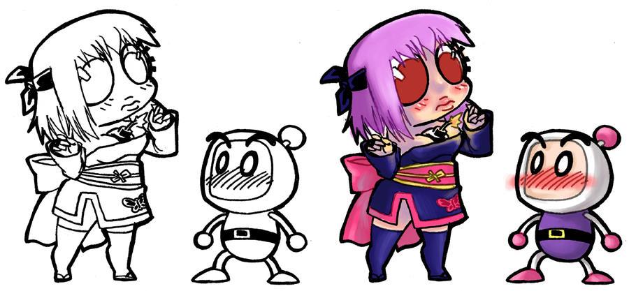 Chibi - Ayane+Bomberman by ElectroCereal