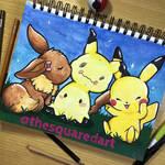 Eevee, Mimikyu and Pikachu SpeedPaint