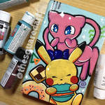 Sketchbook cover, Mew and Pikachu by Aztilen-chan
