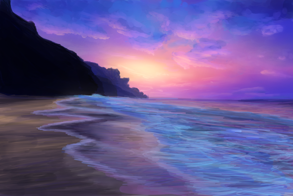 Sunset beach by NicolaCola