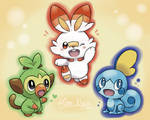 Galar Starter Trio: Grookey, Scorbunny and Sobble