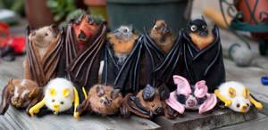 Needle Felt Bat Family