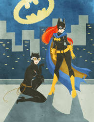 Catwoman + Batgirl by SiliceB
