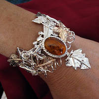 Amber Ivy Leaves Bracelet Cuff by camias